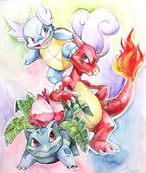 watercolor kanto starters by kuitsuku on deviantart