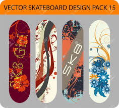 Full Editable Pack With Four Skateboard Designs Royalty Free