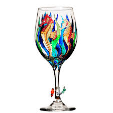seahorse painted wine glass custom wine glasses design