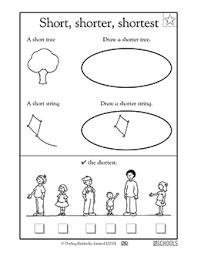 kindergarten preschool math worksheets short shorter shortest