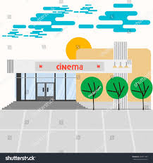 retro cinema building movies park beautiful stock vector 428811769