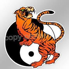 car bumper sticker yin yang symbol golden tiger feng shui