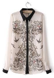 print blouses white magpie print patchwork buttons lapel chiffon blouse