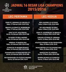 Jadwal Liga Chion Hasil Lengkap Babak 16 Besar Liga Chions 2015 2016