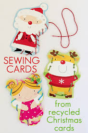 sewing cards from recycled greeting cards childhood101