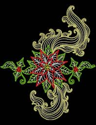 baroque poinsettias machine embroidery designs by sew swell