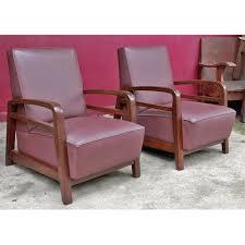 burmese leather and teak art deco club chair