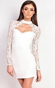 white bodycon dress luisa lace choker neck bodycon dress in white ikrush