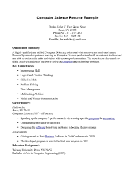 Sample Resume Objectives No Experience by Computer Science Resume No Experience Resume For Your Job