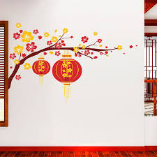 Cny Home Decor Festive New Year Lantern Flowers Pvc Wall