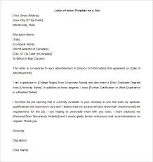Sample Of Resume Letter For Job Application by Letter Of Intent For A Job Templates 19 Free Sample Example