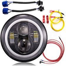 led lights for jeep wrangler jk amazon com jeep wrangler headlights 7 inch led headlight