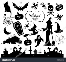 set silhouettes halloween party stock vector 114644200 shutterstock