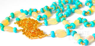 yellow turquoise necklace images Luxe style long ethiopia fire opal and sleeping beauty turquoise jpg