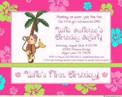 hawaiian luau monkey birthday party invitation girly flowers