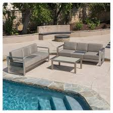cape coral 3pc metal patio sofa set w cushions khaki