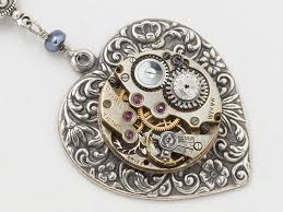silver flower statement necklace images Steampunk necklace watch movement silver heart pendant necklace jpg