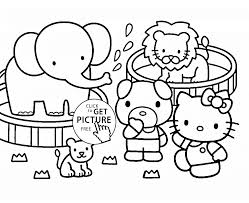 kitty at the zoo coloring page for kids for girls coloring pages