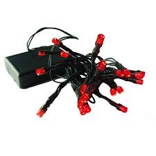 Set Of 20 Battery Operated Red Led Wide Angle Christmas Lights
