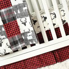 Flannel Crib Bedding Woodlands Nursery Bedding Orange And Navy Deer Crib Bedding Set