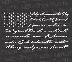 Us Flag Decal The Pledge Of Allegiance Flag Decal U2013 Thisguysdecals