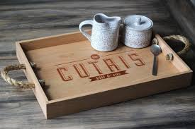 engraved serving tray custom personalized wooden serving tray engraved name and rustic
