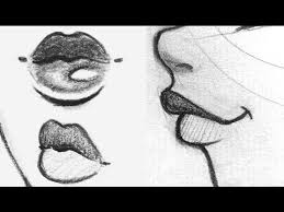 how to draw lips front side 3 4 view youtube