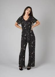 jumpsuit clothing jerry starry gold foil print jumpsuit black