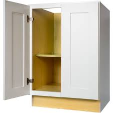 24 inch full height door base cabinet in shaker white with 2 soft