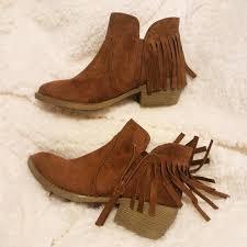 Brown Fringe Ankle Boots 50 Off Self Esteem Boots Cognac Brown Fringe Western Boho Ankle