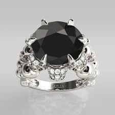 Black And Pink Wedding Rings by Jeulia Four Skull Round Cut Created Black Diamond Skull Ring 5 31