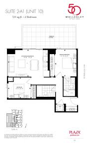 2 Bedroom Condo Floor Plans 50 Wellesley Condos Floor Plans 2 A1 Model