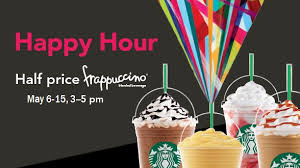 starbucks happy hour 2016 half any frappuccino may 6 15