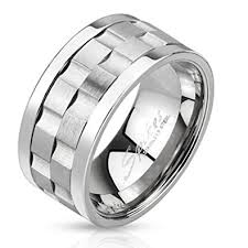 gear wedding ring stainless steel gear shaped center spinner 10mm width ring