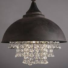Industrial Dome Pendant Light Industrial Retro Large Pendant Light With Hanging Crystal