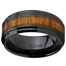wood inlay wedding band oliveti black ceramic ring wedding band with real koa wood inlay