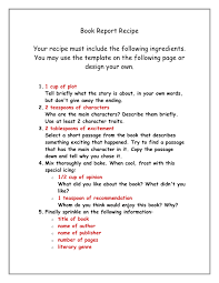 book report recipe in word and pdf formats