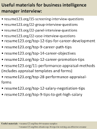 Top Management Resume Samples by Top 8 Business Intelligence Manager Resume Samples