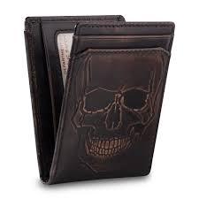 Money Clip Wallet Id Window Skull Bifold Front Pocket Wallet Embossed U0026 Money Clip House