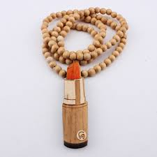 wooden necklaces lipstick necklace pendant wood hip hop wooden necklaces