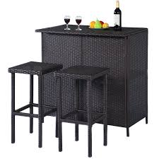 Bar Height Patio Table And Chairs Goplus Hw52108 3pcs Rattan Wicker Bar Set Patio Outdoor Table U0026 2