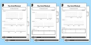 year 3 differentiated the grid method activity sheet pack grid