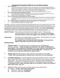 an informative speech preparation outline template in