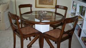 Dining Table White Legs Wooden Top Vintage Dining Sets With Varnished Wooden Framed Glass Top