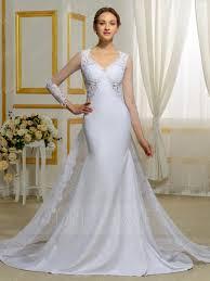 modern v neck long sleeves appliques mermaid wedding dress