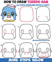 draw tuxedo sam cute kawaii penguin kitty easy