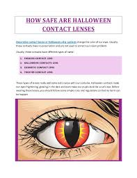 how safe are halloween contact lenses
