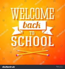 welcome back school greeting card crossed stock vector 148877891