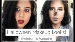 Halloween Makeup Ideas Skeleton by Halloween Face Makeup Ideas Skeleton And Vampire Looks Youtube