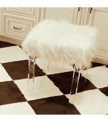 shaggy faux fur acrylic leg stool
